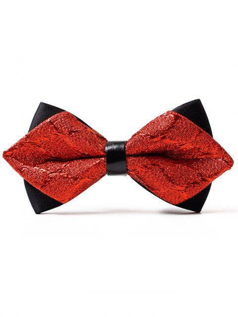 Jacquard Weave Pattern Shimmer Bowtie - RED