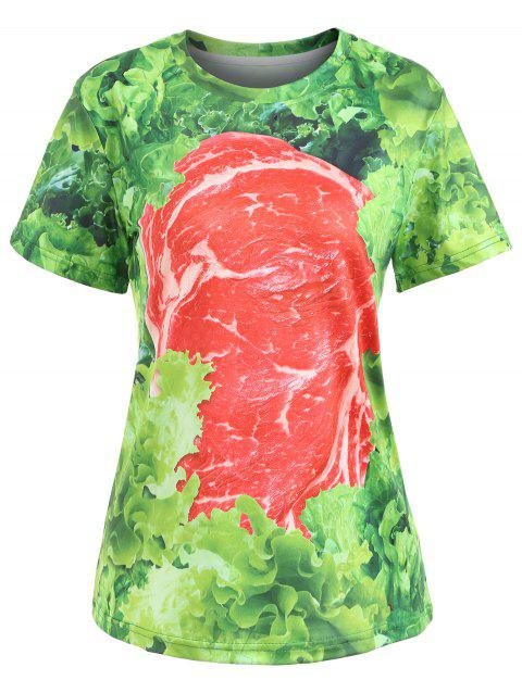 Casual Raw Meat Tee - GREEN L