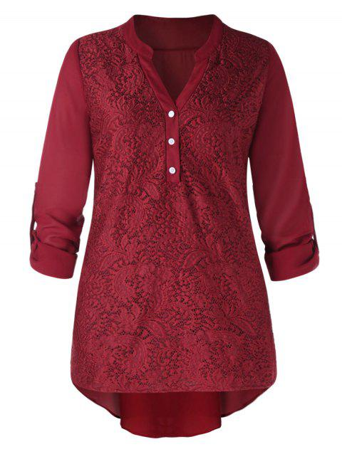Plus Size Long Sleeve Lace Panel Blouse - WINE RED 2XL