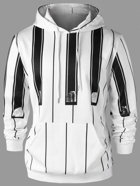 Vertical Stripe Drawstring Neck Hoodie - WHITE/BLACK XL