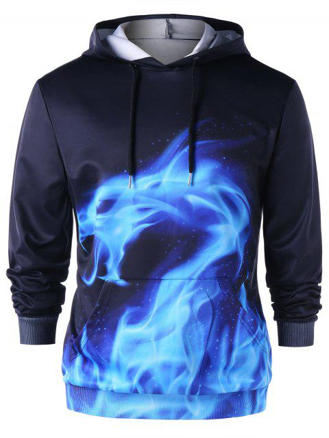 Flaming Dragon Print Kangaroo Pocket Hoodie - BLUE/BLACK XL