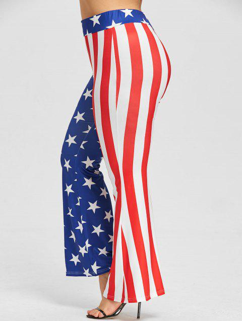 Plus Size Star Striped Flare Pants - US FLAG 5XL