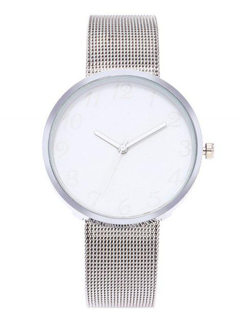 Alloy Mesh Band Minimalist Watch - WHITE