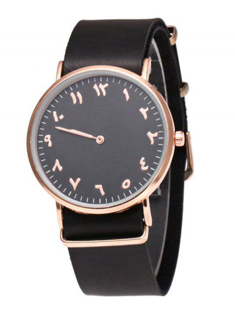 Round Dial Faux Leather Analog Watch - BLACK