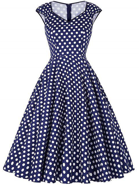 Vintage Polka Dot Sweetheart Dress - BLUE M