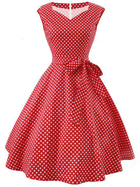 Vintage Polka Dot Belted Dress - RED M