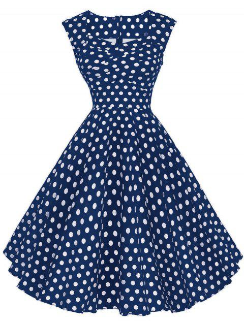 Vintage Polka Dot Twisted Dress - BLUE M