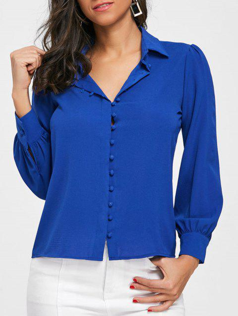 Button Up Work Shirt - BLUE S