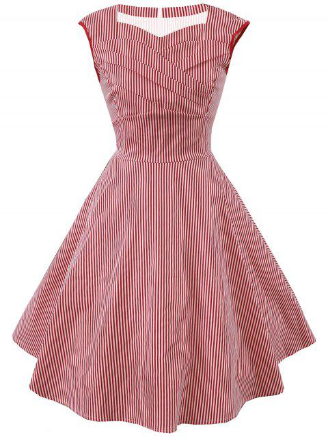 Vintage Striped Sweetheart Dress - RED 2XL