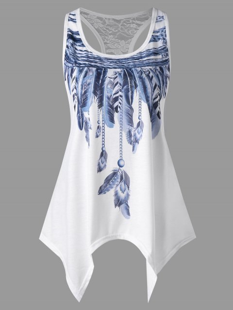 Feather Print Lace Panel Asymmetric Tank Top - WHITE M