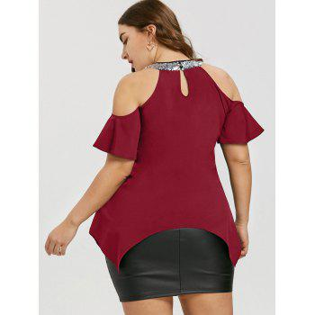 Plus Size Cold Shoulder Sequined Blouse - DEEP RED XL