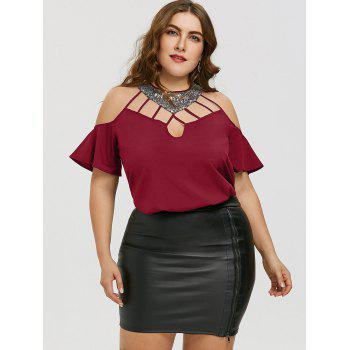 Plus Size Cold Shoulder Sequined Blouse - DEEP RED 3XL