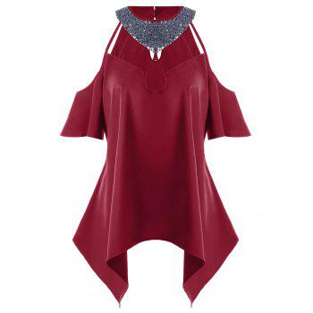 Plus Size Cold Shoulder Sequined Blouse - DEEP RED 5XL