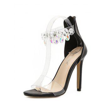 Rhinestone Embellishment Ankle Strap Sandals - BLACK 37