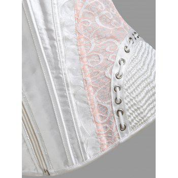Zip Lace-up Trainer Cincher Corset - WHITE S