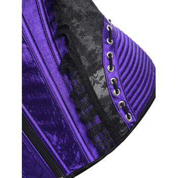 Zip Lace-up Trainer Cincher Corset - PURPLE XL