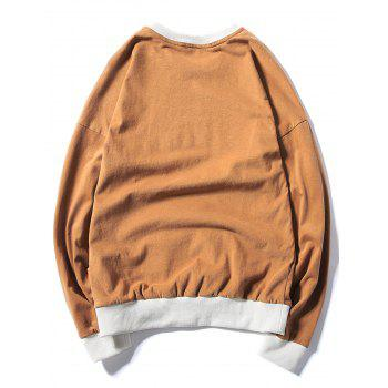 Rib Panel Printed Pullover Sweatshirt - KHAKI 3XL