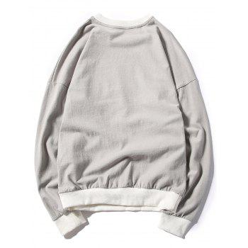 Rib Panel Printed Pullover Sweatshirt - GRAY 2XL