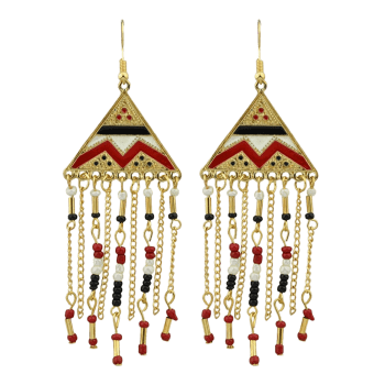Vintage Tassel Metal Hook Drop Earrings - RED