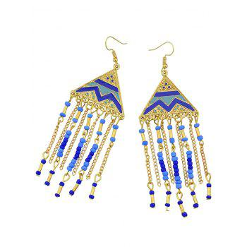Vintage Tassel Metal Hook Drop Earrings - BLUE