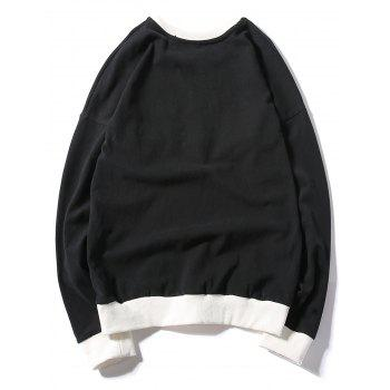 Rib Panel Printed Pullover Sweatshirt - BLACK XL