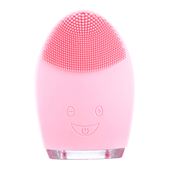 Waterproof Pulse Massage Brush Silicone Sonic Face Cleanser Device - PINK