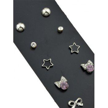 Alloy Round Ball Bowknot Star Stud Earring Sets - SILVER