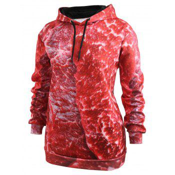 Drawstring Plus Size Pork Meat 3D Print Hoodie - RED 5XL