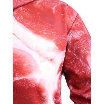 Drawstring Plus Size Pork Meat 3D Print Hoodie - BRICK RED 4XL