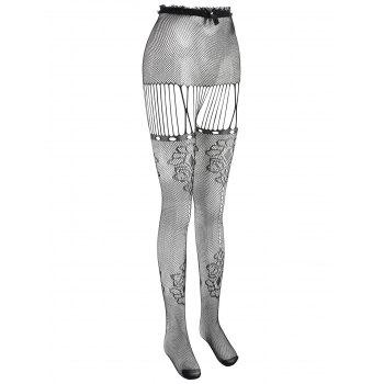 Open Crotch Fishnet Lingerie Tights - BLACK ONE SIZE