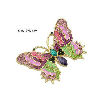 Metallic Faux Crystal Decorated Butterfly Shape Brooch - COLORMIX