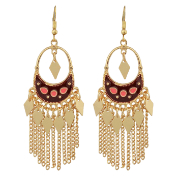 Metal Crescent Tassel Hollow Out Drop Earrings - RED