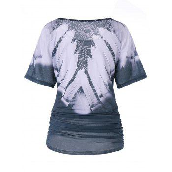 Two Tone Spider Web Ruched Tunic T-shirt - COLORMIX L