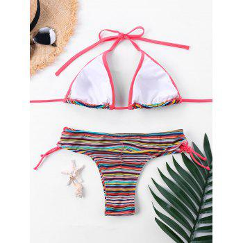 String Striped Halter Bikini Set - COLORMIX XL