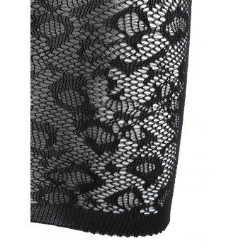Backless Fishnet Lingerie Chemise Dress - BLACK ONE SIZE