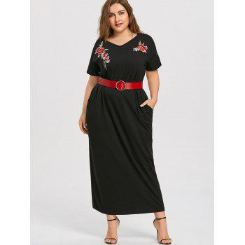 Floral Patches Plus Size Maxi T-shirt Dress - BLACK XL