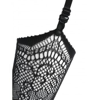 Fishnet Lace Garter Tights - BLACK ONE SIZE