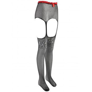 Fishnet Crotchless High Waist Tights - BLACK ONE SIZE
