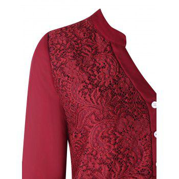 Plus Size Long Sleeve Lace Panel Blouse - WINE RED XL