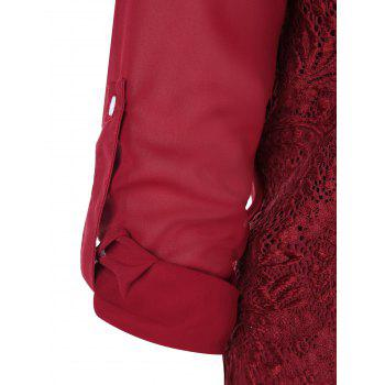 Plus Size Long Sleeve Lace Panel Blouse - WINE RED 3XL