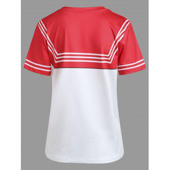 Double Striped Faux Bow Tie Tee - RED S
