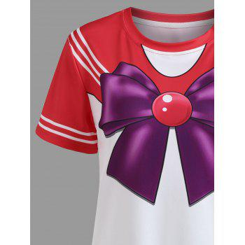 Double Striped Faux Bow Tie Tee - RED M
