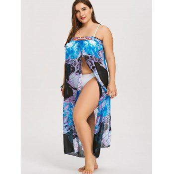 Strapless Plus Size Slit Cover Up - multicolor ONE SIZE