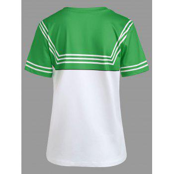 Double Striped Faux Bow Tie Tee - GREEN L