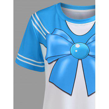 Double Striped Faux Bow Tie Tee - BLUE 2XL