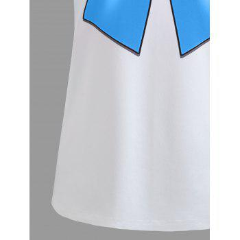 Double Striped Faux Bow Tie Tee - BLUE M
