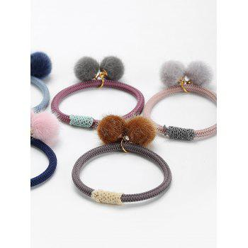 5Pcs Double Hair Ball Elastic Hair Bands - COLORMIX