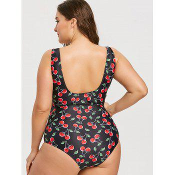Cherry Print High Waisted Plus Size One Piece Swimsuit - BLACK 4XL