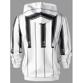 Vertical Stripe Drawstring Neck Hoodie - WHITE/BLACK M