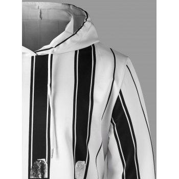 Vertical Stripe Drawstring Neck Hoodie - WHITE/BLACK 2XL